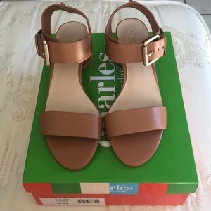 Brown Sandals with Gold Heel- Size 6